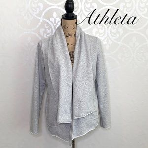 ATHLETA GREY OPEN FRONT CARDIGAN WITH POCKETS